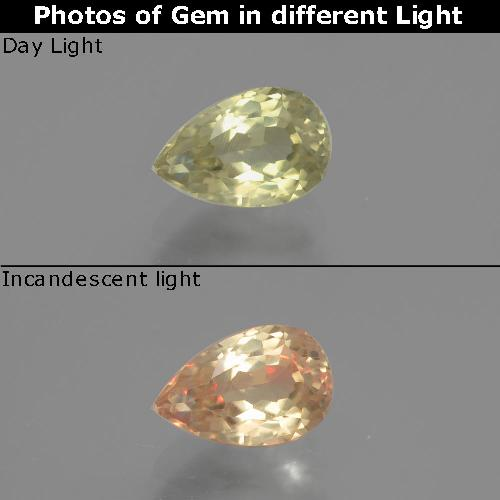 Green to Pink Color-Change Diaspore Gem - 1.1ct Pear Facet (ID: 391625)