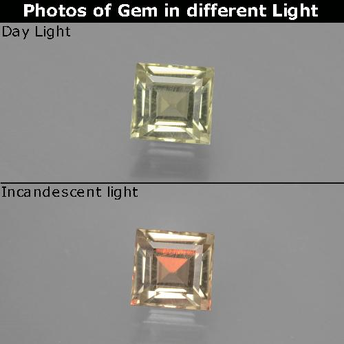 Green to Pink Color-Change Diaspore Gem - 0.8ct Square Facet (ID: 393859)