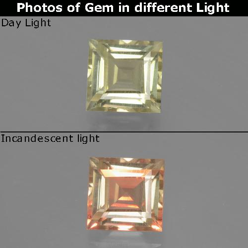 Green to Pink Color-Change Diaspore Gem - 1ct Square Facet (ID: 393866)