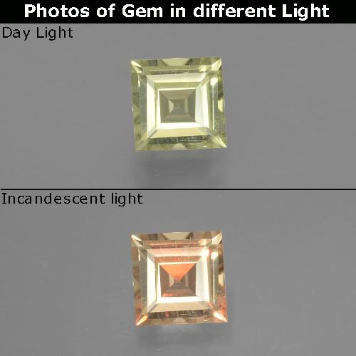 Very Light Yellow Color-Change Diaspore Gem - 0.8ct Square Facet (ID: 393867)