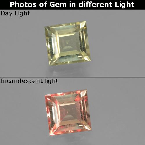 Green to Pink Color-Change Diaspore Gem - 0.8ct Square Facet (ID: 393890)