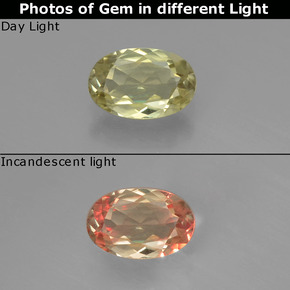 Green to Pink Color-Change Diaspore Gem - 0.6ct Oval Facet (ID: 393952)