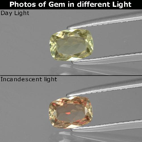 Very Pale Yellow Color-Change Diaspore Gem - 0.7ct Cushion-Cut (ID: 393999)