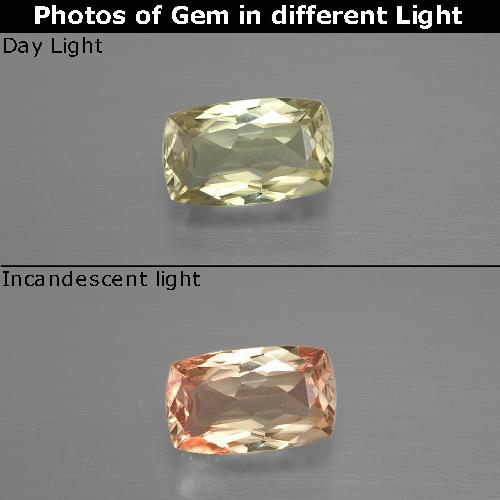 Green to Pink Color-Change Diaspore Gem - 1.2ct Cushion-Cut (ID: 394631)