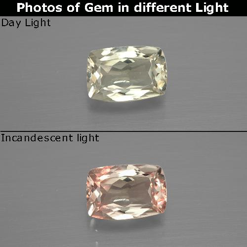 Green to Pink Color-Change Diaspore Gem - 1.1ct Cushion-Cut (ID: 394633)