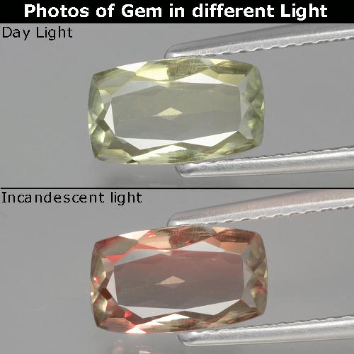 Green to Pink Color-Change Diaspore Gem - 1.3ct Cushion-Cut (ID: 394750)