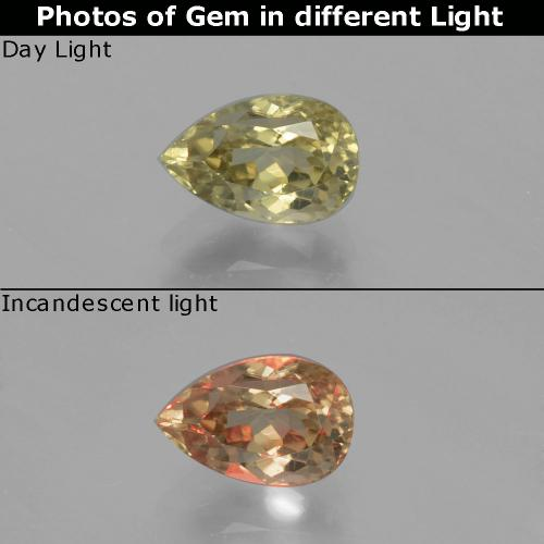 Green to Pink Color-Change Diaspore Gem - 1.3ct Pear Facet (ID: 394793)
