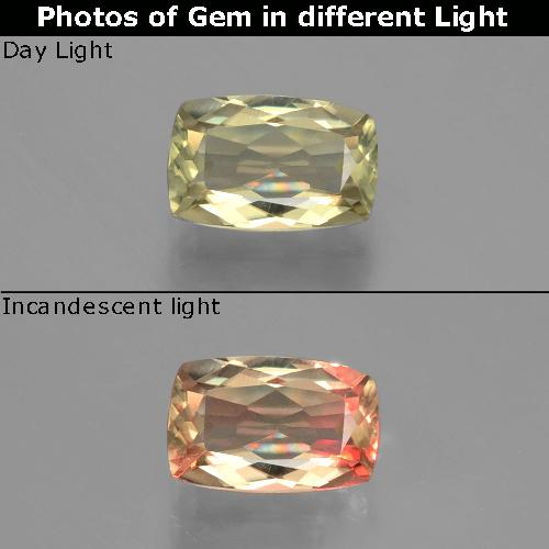 Green to Pink Color-Change Diaspore Gem - 1.2ct Cushion-Cut (ID: 394804)