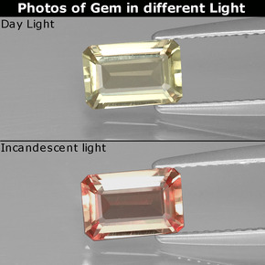 Green to Pink Color-Change Diaspore Gem - 1.1ct Octagon Facet (ID: 395411)