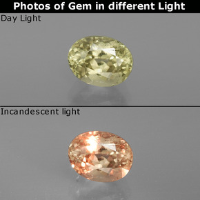 Light Yellow Color-Change Diaspore Gem - 1ct Oval Facet (ID: 395667)