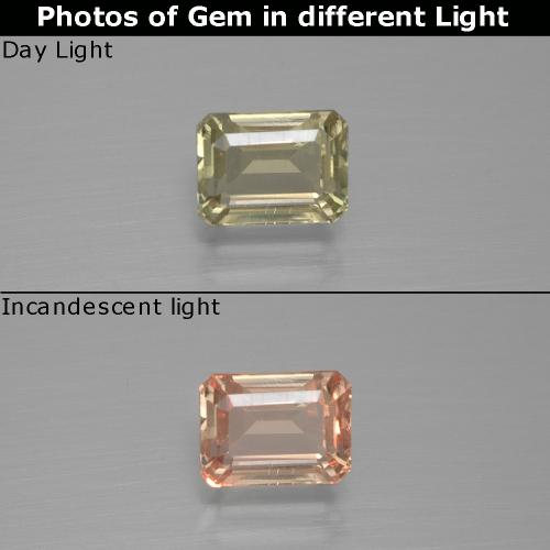 Green to Pink Color-Change Diaspore Gem - 1.2ct Octagon Facet (ID: 396337)