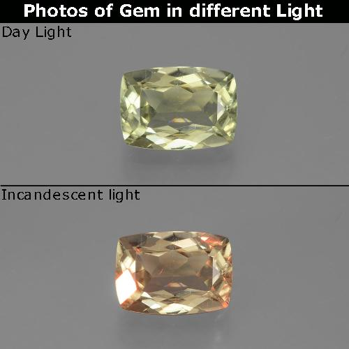 Green to Pink Color-Change Diaspore Gem - 1.1ct Cushion-Cut (ID: 396417)