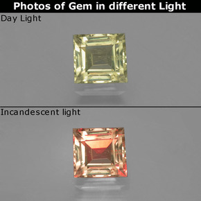 Green to Pink Color-Change Diaspore Gem - 0.9ct Square Facet (ID: 396486)
