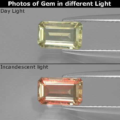 Green to Pink Color-Change Diaspore Gem - 0.9ct Octagon Facet (ID: 396487)