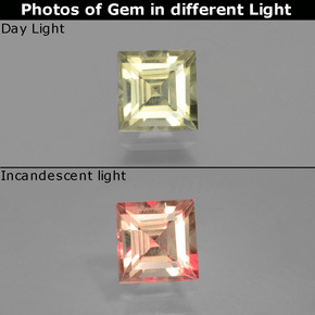 Green to Pink Color-Change Diaspore Gem - 0.9ct Square Facet (ID: 396547)