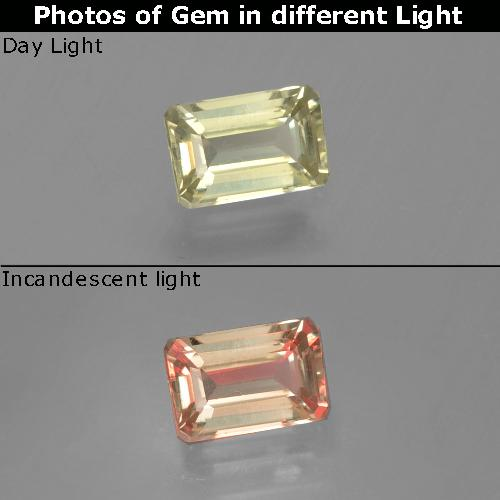 Green to Pink Color-Change Diaspore Gem - 0.8ct Octagon Facet (ID: 396552)