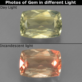 Yellow Green Color-Change Diaspore Gem - 1.1ct Cushion-Cut (ID: 396605)