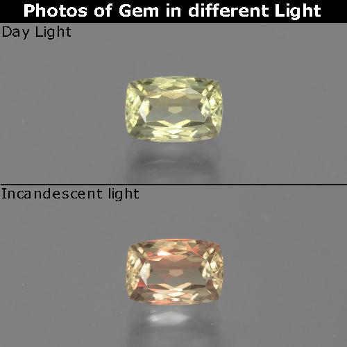 Green to Pink Color-Change Diaspore Gem - 1.2ct Cushion-Cut (ID: 396611)