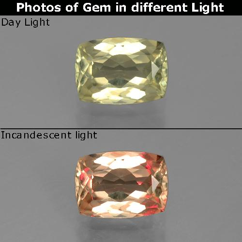 Green to Pink Color-Change Diaspore Gem - 1.1ct Cushion-Cut (ID: 396709)