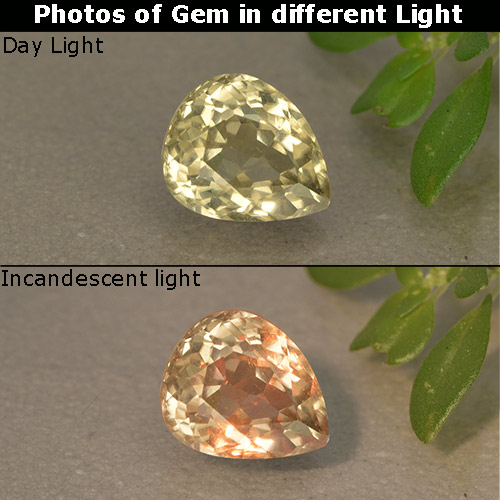 Green to Pink Color-Change Diaspore Gem - 1.1ct Pear Facet (ID: 396753)