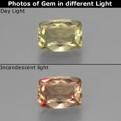 Green to Pink Color-Change Diaspore Gem - 1.2ct Cushion-Cut (ID: 396953)