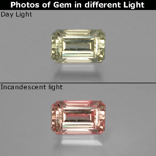 Green to Pink Color-Change Diaspore Gem - 1.1ct Octagon Facet (ID: 397020)