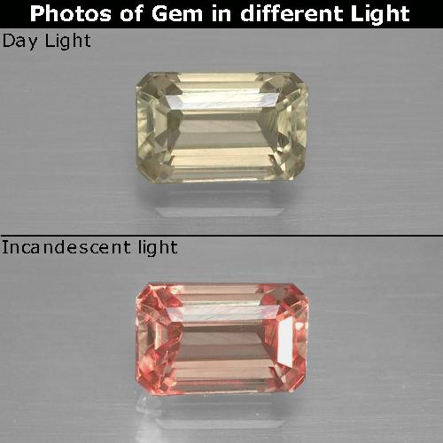 Green to Pink Color-Change Diaspore Gem - 1.3ct Octagon Facet (ID: 397458)