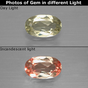 Green to Pink Color-Change Diaspore Gem - 0.9ct Oval Facet (ID: 397484)