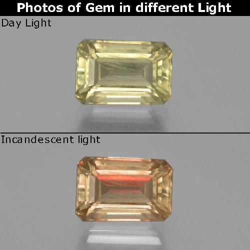 Light Yellow Color-Change Diaspore Gem - 1.5ct Octagon Facet (ID: 397528)