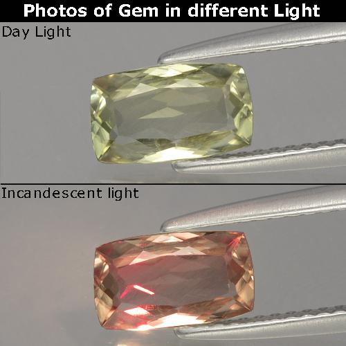 Green to Pink Color-Change Diaspore Gem - 1.2ct Cushion-Cut (ID: 397544)