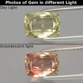 Green to Pink Color-Change Diaspore Gem - 1.1ct Cushion-Cut (ID: 397550)