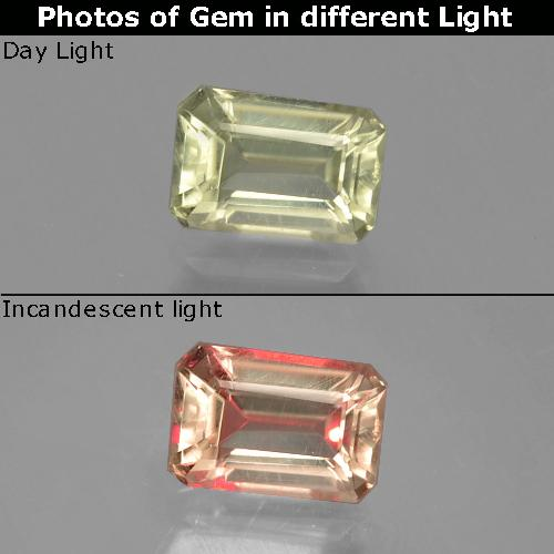 Light Golden Yellow Color-Change Diaspore Gem - 1ct Octagon Facet (ID: 397557)
