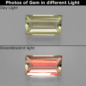 Green to Pink Color-Change Diaspore Gem - 1.4ct Baguette Facet (ID: 398467)