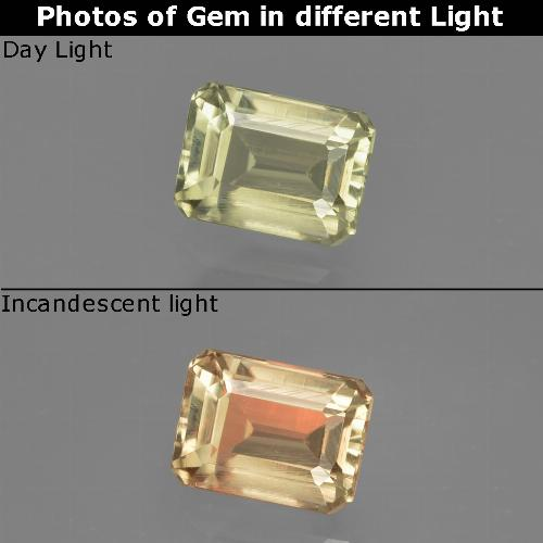 Yellow Green Color-Change Diaspore Gem - 0.9ct Octagon Facet (ID: 411533)