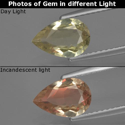 Green to Pink Color-Change Diaspore Gem - 1.3ct Pear Facet (ID: 422080)