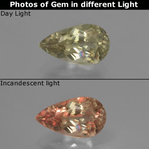 Green to Pink Color-Change Diaspore Gem - 1.4ct Pear Facet (ID: 422081)