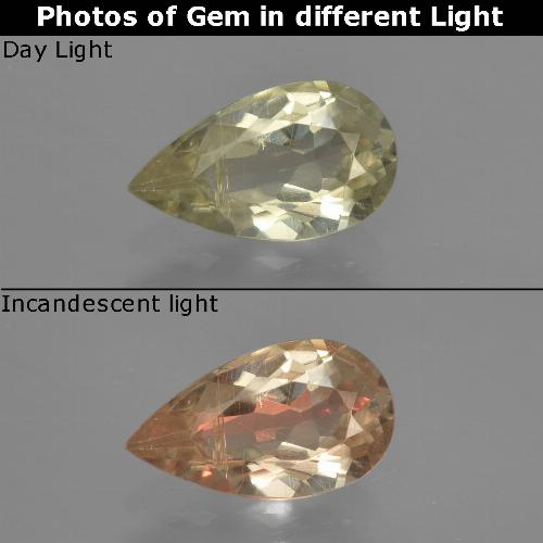 Green to Pink Color-Change Diaspore Gem - 1.4ct Pear Facet (ID: 422082)