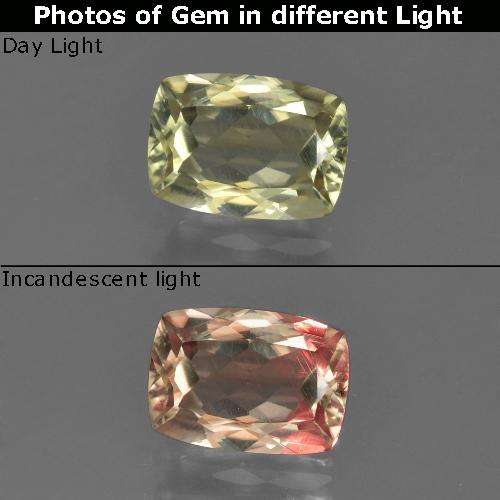 Green to Pink Color-Change Diaspore Gem - 1.1ct Cushion-Cut (ID: 422143)