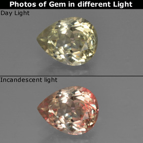 Green to Pink Color-Change Diaspore Gem - 1.2ct Pear Facet (ID: 422145)