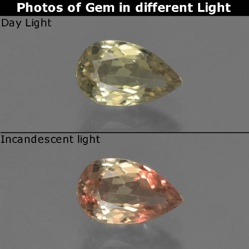 Green to Pink Color-Change Diaspore Gem - 0.9ct Pear Facet (ID: 422182)