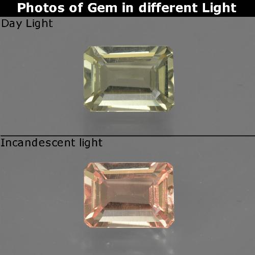 Green to Pink Color-Change Diaspore Gem - 0.8ct Octagon Facet (ID: 422792)