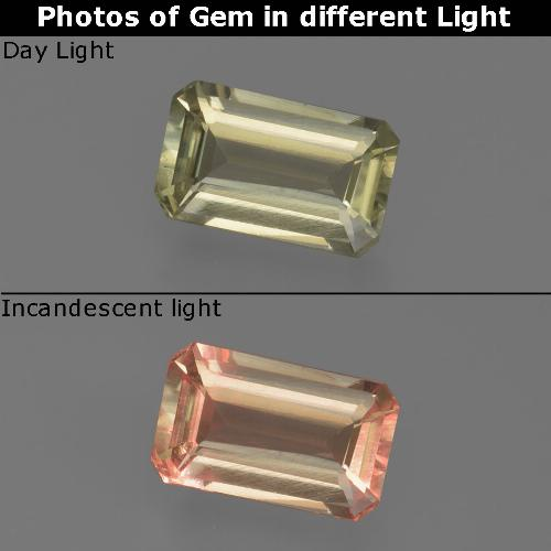 Green to Pink Color-Change Diaspore Gem - 0.8ct Octagon Facet (ID: 422833)