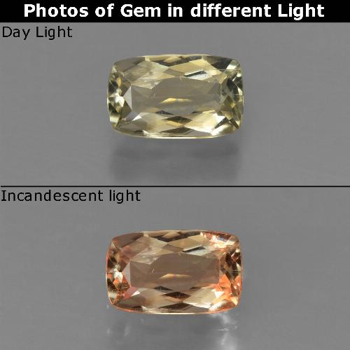 Green to Pink Color-Change Diaspore Gem - 0.8ct Cushion-Cut (ID: 424598)