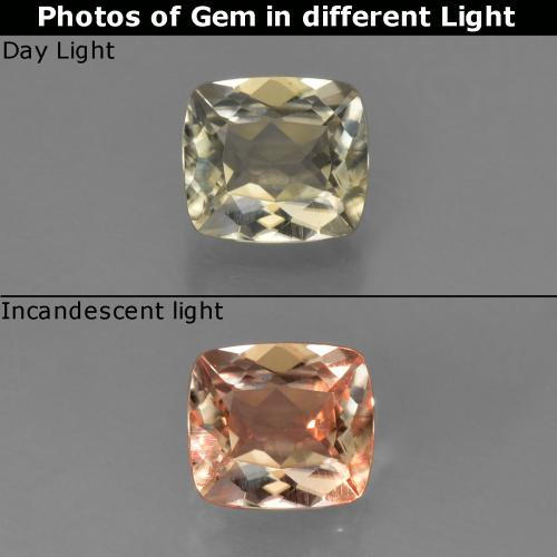 Very Light Golden-Yellow Diásporo con Cambio de Color Gema - 0.9ct Corte en Forma Cojín (ID: 424599)