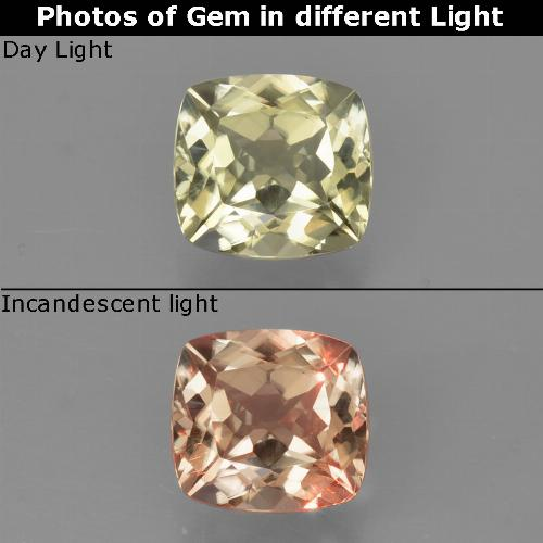 Green to Pink Color-Change Diaspore Gem - 0.9ct Cushion-Cut (ID: 424696)