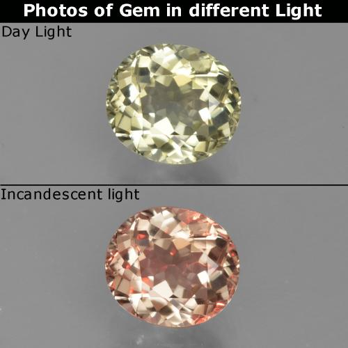 Very Light Yellow Color-Change Diaspore Gem - 0.9ct Oval Facet (ID: 424705)