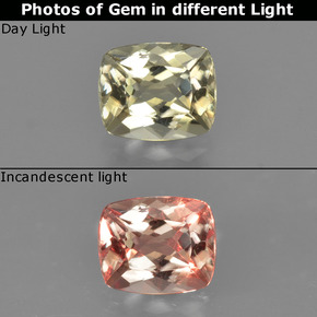 Green to Pink Color-Change Diaspore Gem - 0.8ct Cushion-Cut (ID: 424765)