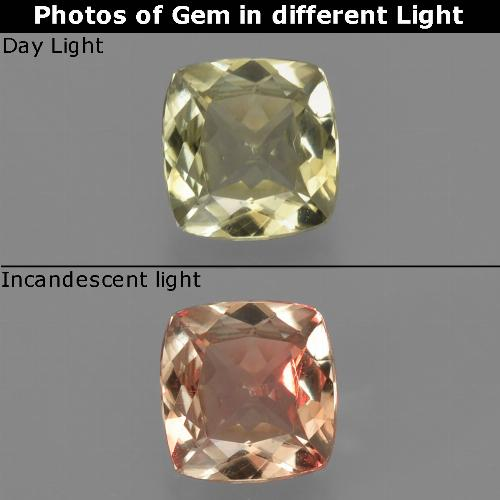 Green to Pink Color-Change Diaspore Gem - 0.8ct Cushion-Cut (ID: 424773)