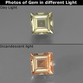 thumb image of 0.8ct Square Facet Green to Pink Color-Change Diaspore (ID: 437343)