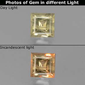 thumb image of 0.8ct Square Facet Green to Pink Color-Change Diaspore (ID: 437413)